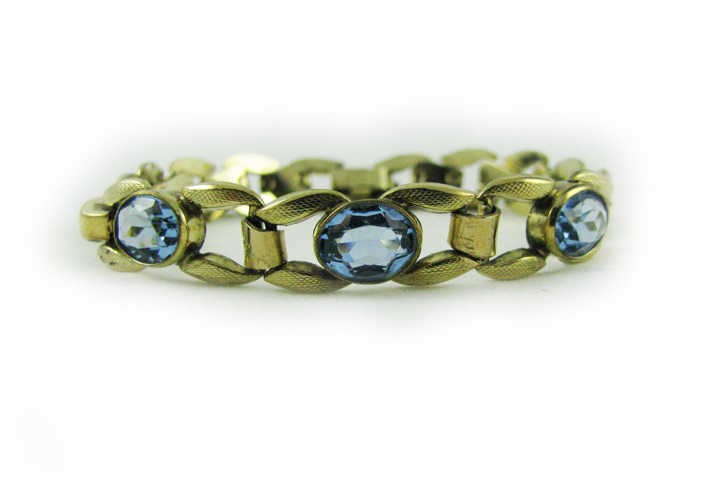 1960's Aqua Blue Crystal Bracelet
