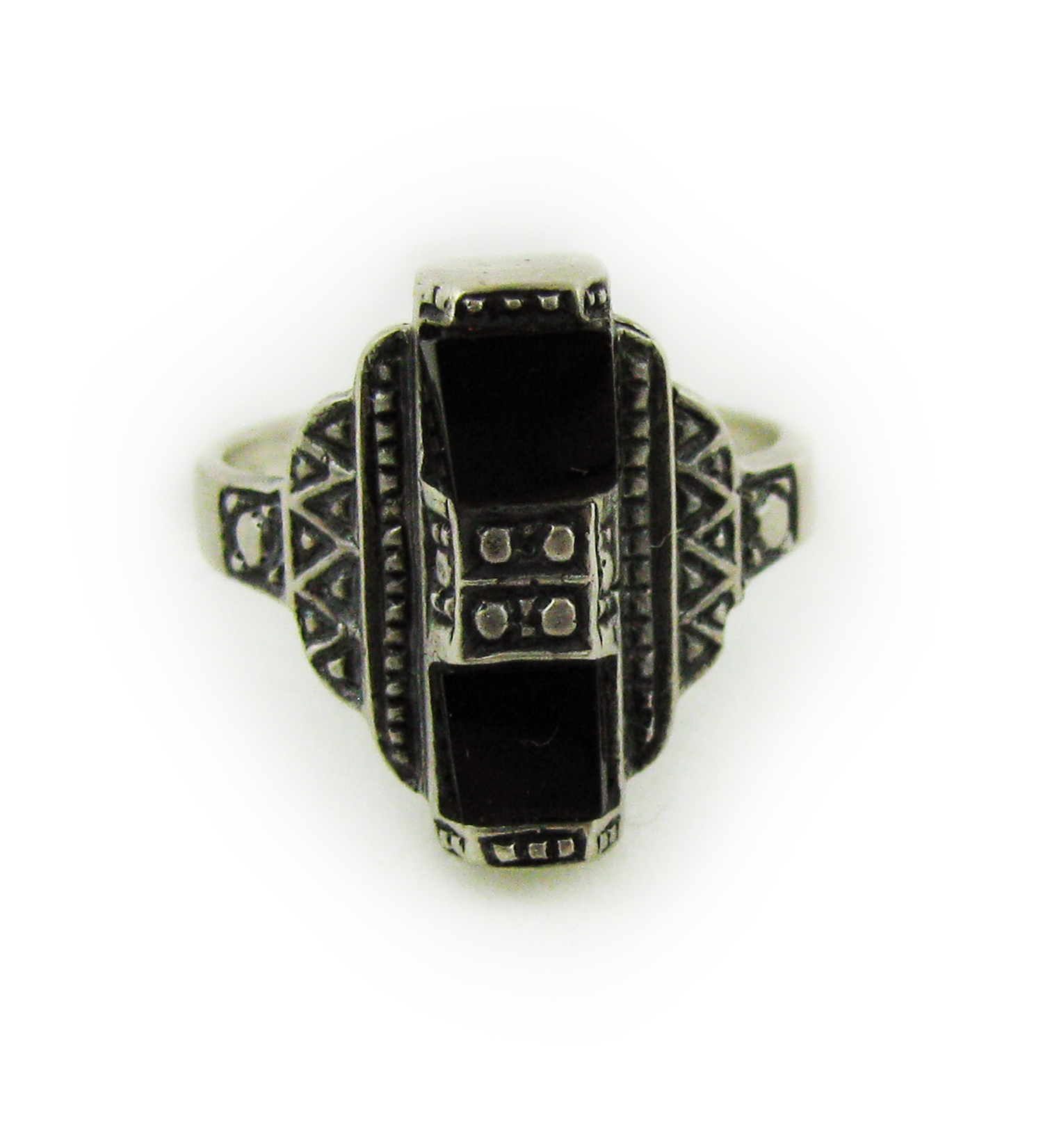 1930s Art Deco Onyx and Silver Ring