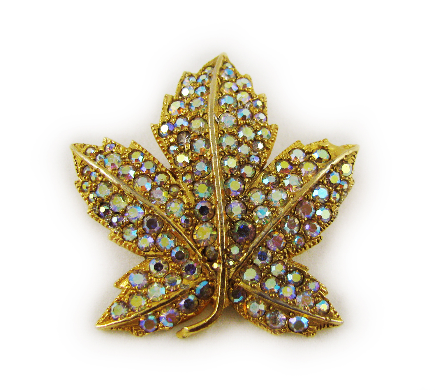 1970's Borealis Rhinestone Leaf Brooch
