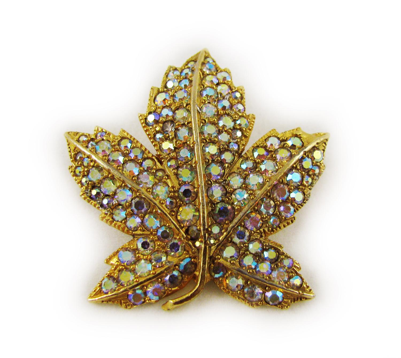 1970's Borealis Rhinestone Leaf Brooch