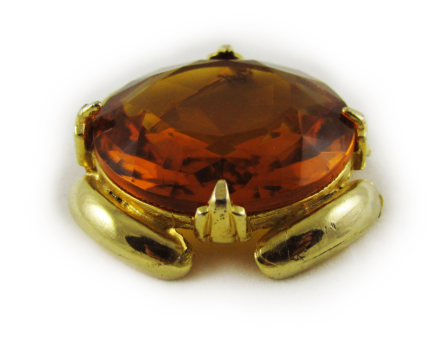1950s Large Deco Amber Glass Brooch 