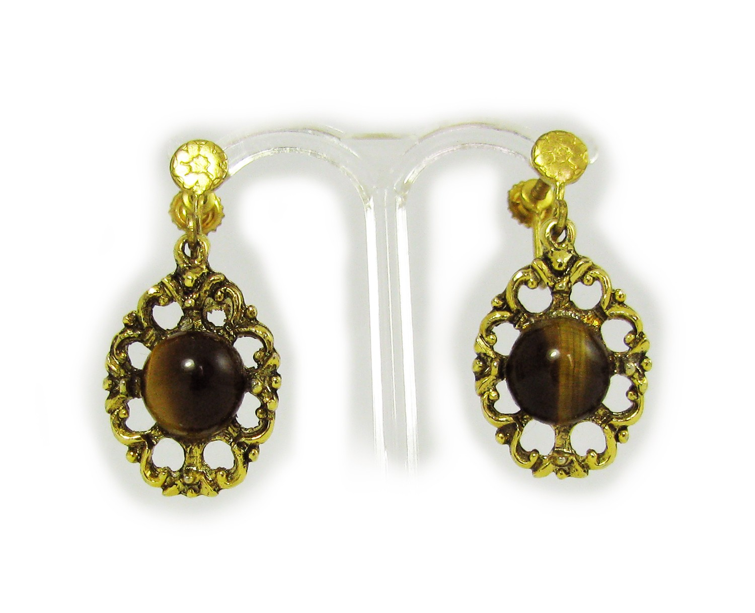 Screw Back Earrings http://v4vintage.com/index.php/vintage-jewellery/earrings/1950-s-baroque-tiger-eye-screw-back-earrings.html