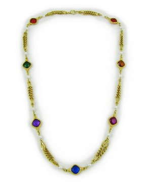 1980's Long Twin Chain Colourful Necklace