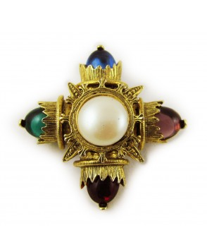 1950s Colourful Glass and Pearl Royal Pendant Brooch