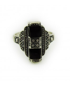 1930s Art Deco Onyx and Silver Ring (925)