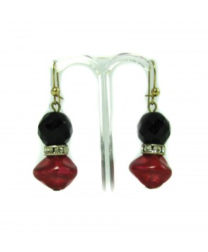 60s Deco Red and Black Jet Earrings