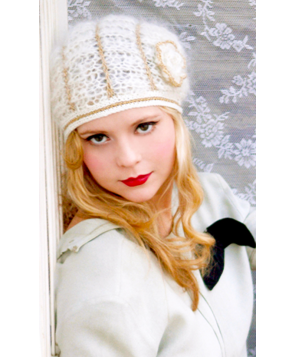 Ivory & Gold Mohair and Wool Hat - Deco Style