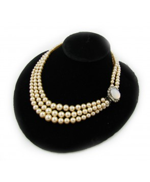 1940's Glass Pearl Collar Necklace with Opaline Diamante Clasp