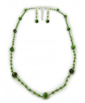 1920s Green Murano Glass Necklace and Earring Set