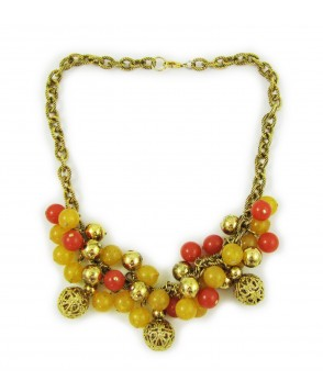 1960s Confetti Lucite, Filigree and Golden Bauble Necklace